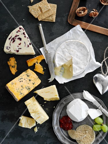 Assorted varieties of cheese with crackers, walnuts and grapes