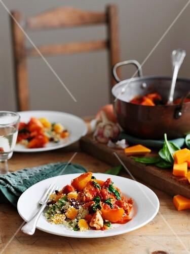 Chicken Squash Stew with Spinach