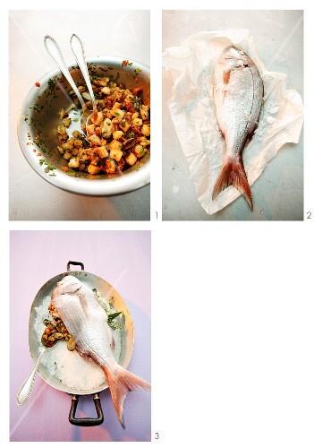 Preparing stuffed fish in a salt crust