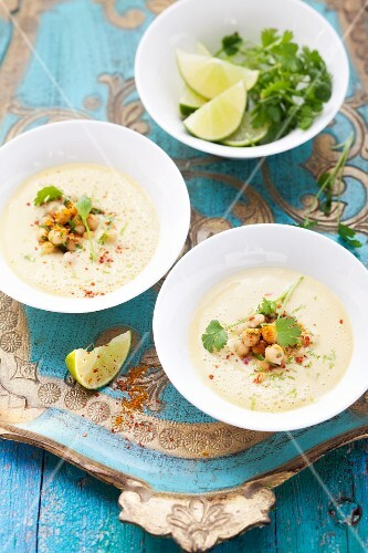 Indian mango-biryani soup with chickpeas