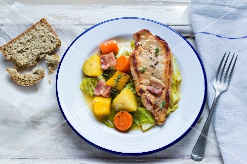 Pork chop with vegetable stew
