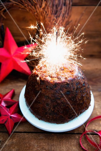 Christmas Pudding with sparklers