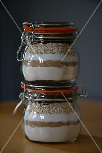 Oatmeal raisin cookie mix in preserving jars