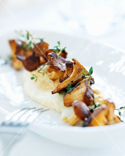 Chanterelles on polenta with thyme