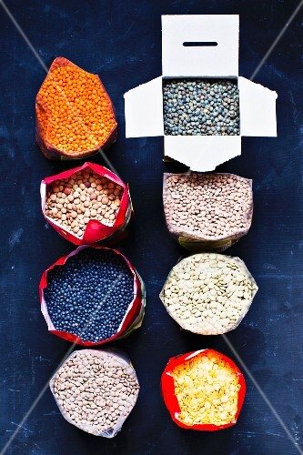 A variety of lentils in bags