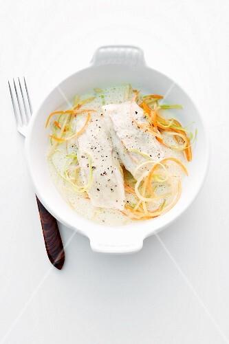Cod in a saffron and curry broth