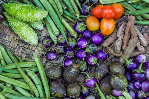 Fresh vegetables at a market in Myanmar (view from above)