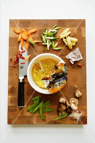 Instant Asian soup with ingredients