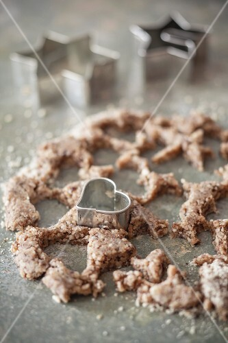 Leftover biscuit dough after cutting out biscuits, with a heart-shaped cutter