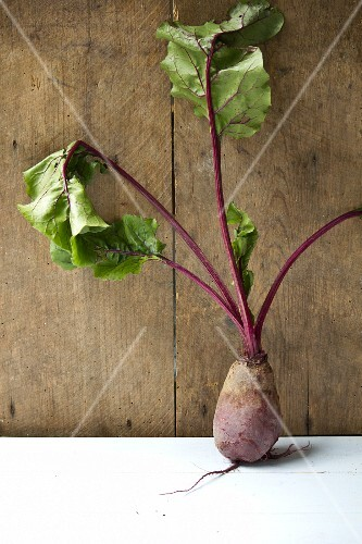 Single beetroot on white and wood