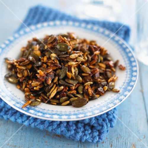 Mixed seeds with honey and soy sauce