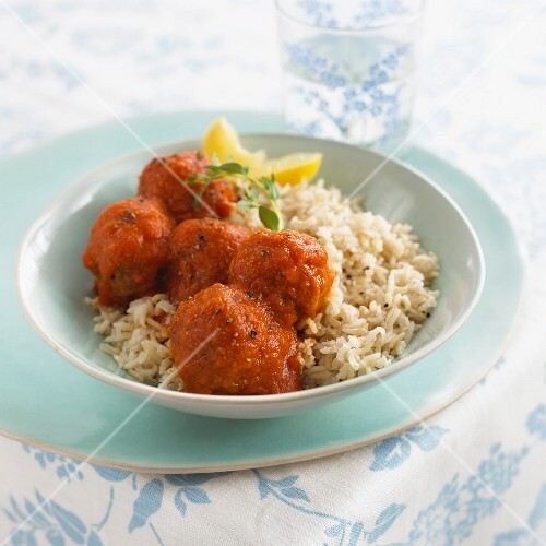 Meatballs with tomato sauce and rice