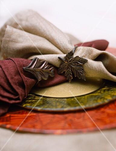 Cloth Napkins with Autumn Napkin Rings
