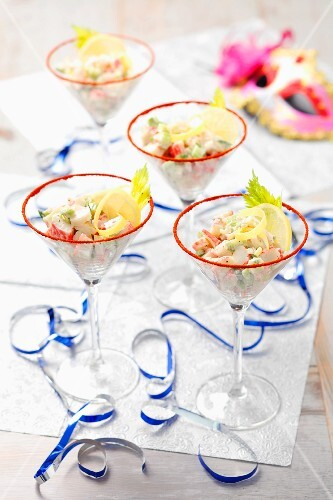 Surimi cocktails with celery and lemon for a party
