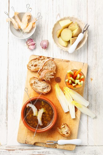 Bagna cauda (vegetables with warm anchovy sauce, Italy)