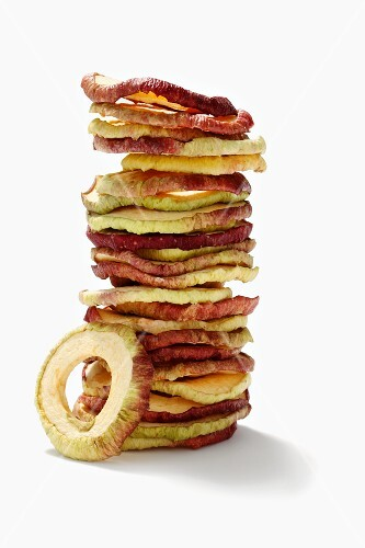 Dried and stacked apple rings