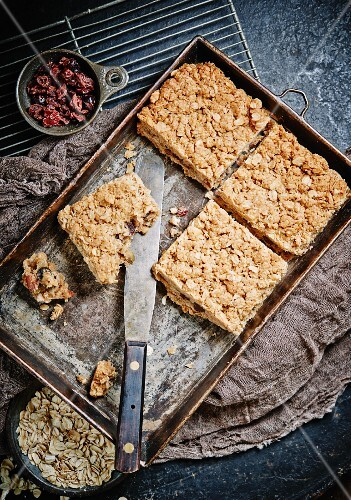 Granola Bars with chocolate chips, rolled oats, pecans and cranberries