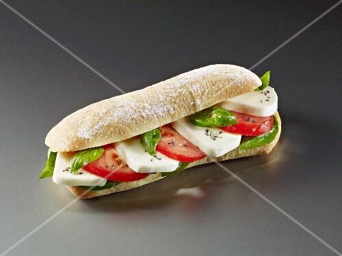 Ciabatta with tomatoes, mozzarella and basil