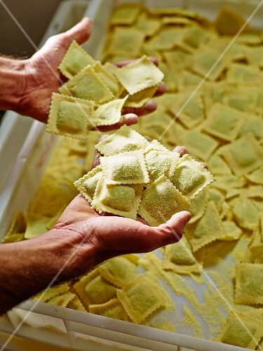 Hands holding home-made ravioli