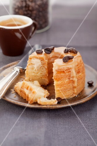 Puff pastry doughnut with cafe au lait filling