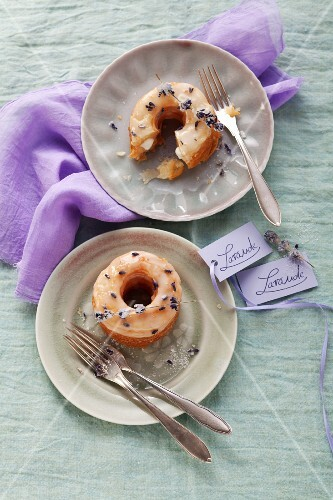 Lavender doughnuts with lavender flowers