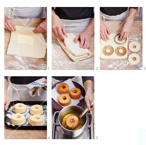 Doughnuts being made from puff pastry