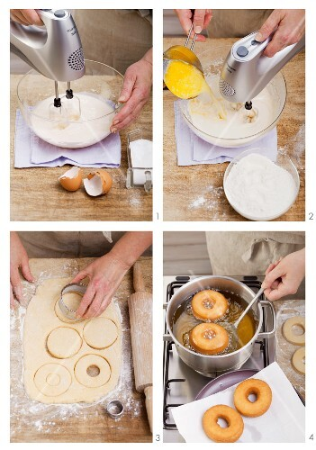 Doughnuts being made from sponge cake mixture