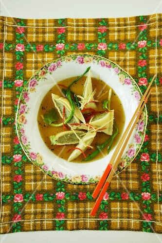 Asian ravioli soup (view from above)