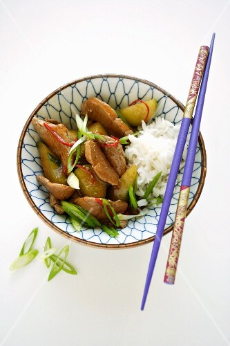 Pork with cucumber and rice (Asia)