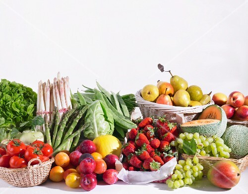 Assorted types of fruits and vegetables