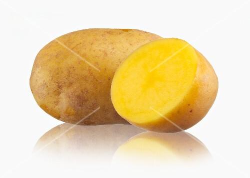 A whole potato and half a potato