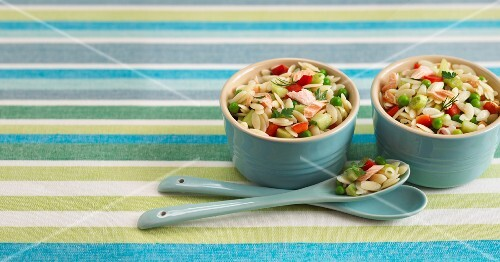 Orzo pasta with salmon and vegetables