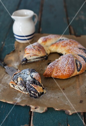 Braided poopy seed bread, rustic style