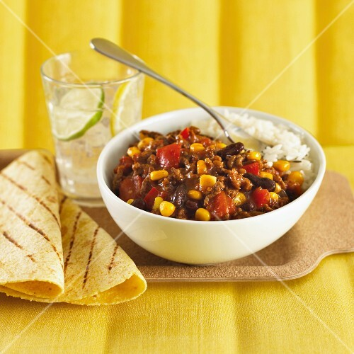 Chilli con carne with sweetcorn on a bed of rice
