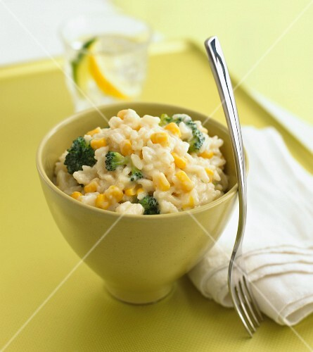 Risotto with sweetcorn and broccoli