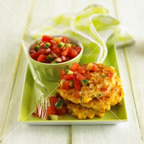 Corn fritters with tomato salsa