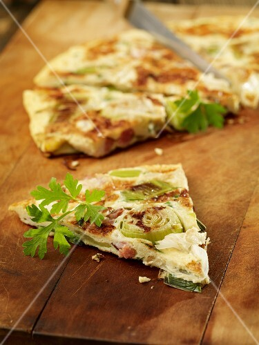 Spanish omelette with leek and bacon