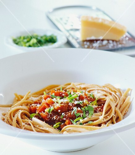 Linguine with vegetarian bolognese