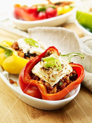 Stuffed peppers with minced meat and feta