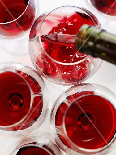 Red wine being poured (view from above)