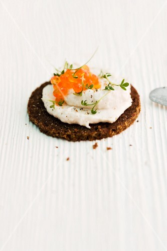 Pumpernickel with smoked trout spread and trout caviar
