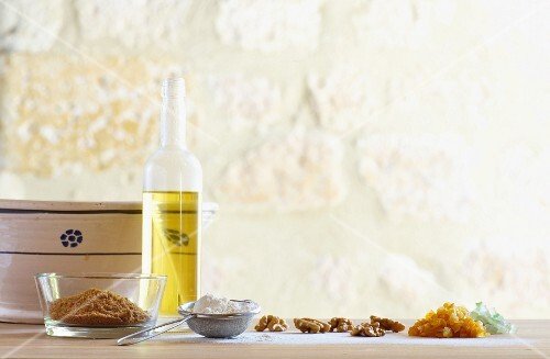 Ingredients for baking with walnuts