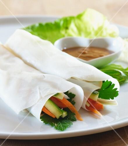 Vietnamese vegetable rolls with peanut sauce