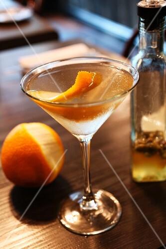 Martini garnished with orange peel