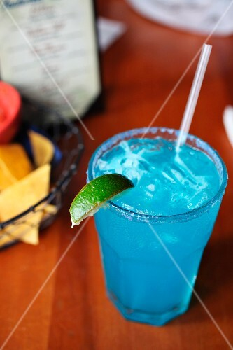 Blue margarita with tequila, citronage and blue curacao