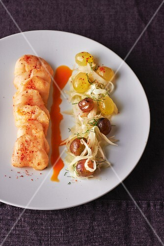 Fillet of monkfish with grape salad and chilli sauce