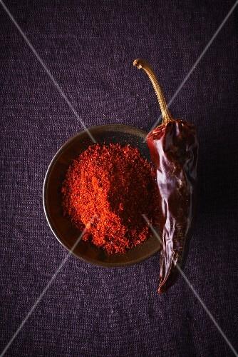A dried Espelette chilli and chilli powder