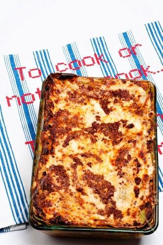 Lasagne in baking dish