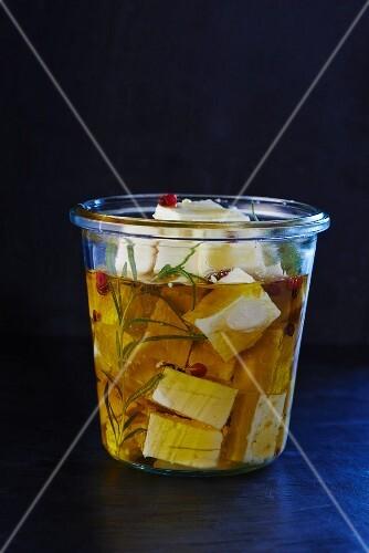 Feta preserved in olive oil