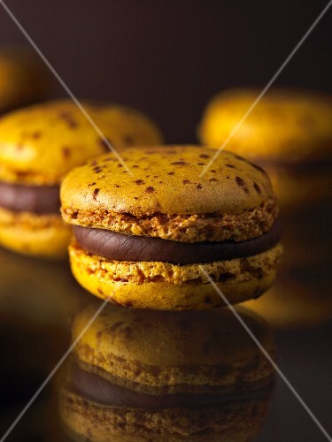 Macaroons with chocolate cream filling